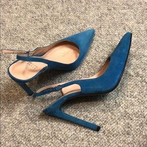 Sling back blue suede heels